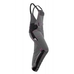 Damen Arbeitslatzhose Ripstop wasserabweisend Teflon DuPont Imprägnierung Schwarz-Grau Pink mit Kniepolstertaschen