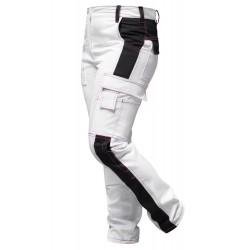 Arbeitshose Stretch für Damen Weiß Malerhose komplett mit Kniepolstertaschen - pinke Naht