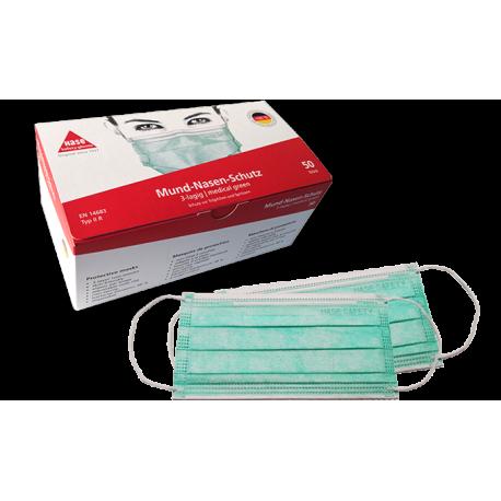 Medizinische Einwegmaske mit Gummiband, 3-lagig, grün, VPE:50item