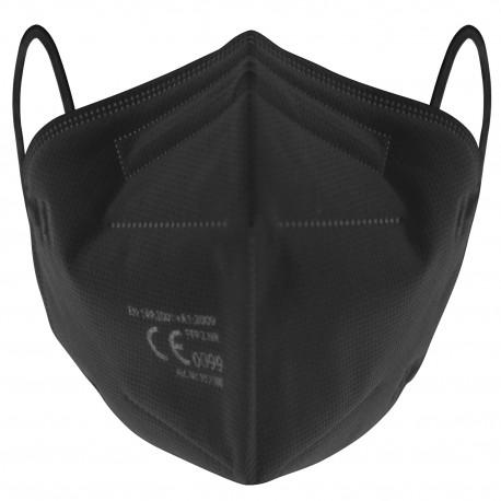 Atemschutz-Faltmaske FFP2 NR, EN 149 mit justierbarem Nasenbügel, Schwarz