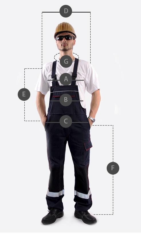 Größe der Arbeitskleidung.